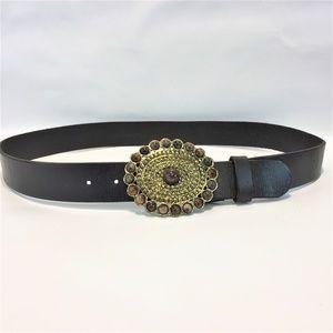 Large Boho Leather Brown Belt